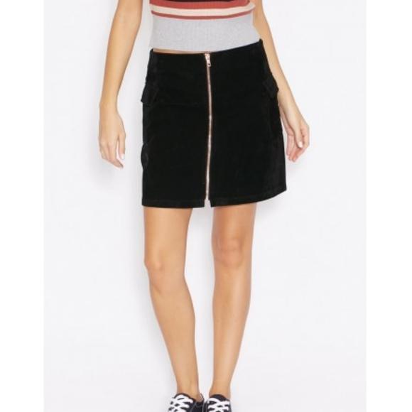 MINKPINK Velvet Zip Front Cargo A-Line Mini Skirt